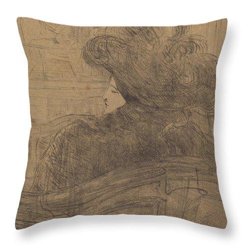 Throw Pillow featuring the drawing Cl?o De M?rode by Henri De Toulouse-lautrec