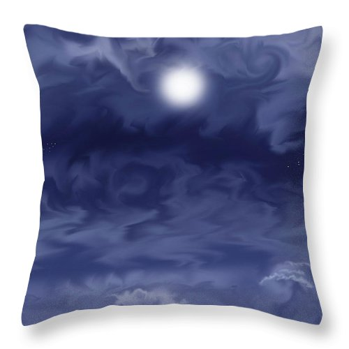 Moon Throw Pillow featuring the painting Cobalt by Anne Norskog