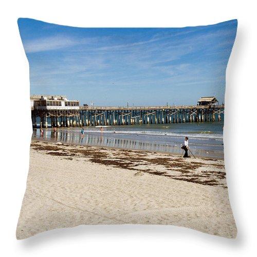 Florida; Cocoa; Beach; Atlantic; Ocean; East; Space; Coast; Brevard; Central; Pier; Surf; Surfing; F Throw Pillow featuring the photograph Cocoa Beach In Florida by Allan Hughes