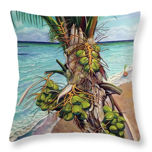 Coconuts Throw Pillow featuring the painting Coconuts On Beach by Jose Manuel Abraham