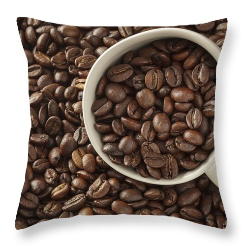 Beans Throw Pillow featuring the photograph Coffee Beans by Julie Woodhouse