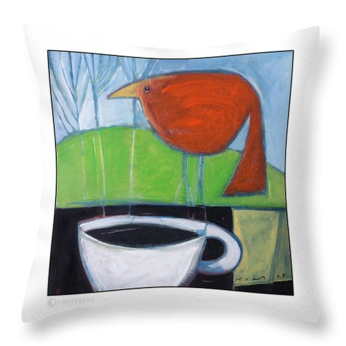 Bird Throw Pillow featuring the painting Coffee With Red Bird by Tim Nyberg