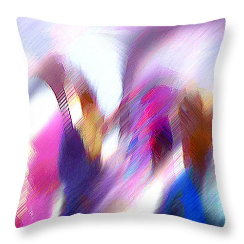 Digital Media Throw Pillow featuring the painting Color Dance by Anil Nene
