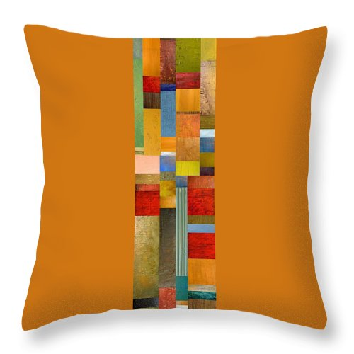 Skinny Throw Pillow featuring the painting Color Panels With Green Grass by Michelle Calkins