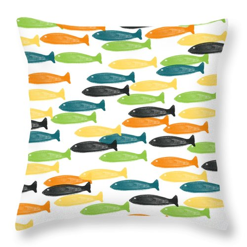 Fish Throw Pillow featuring the painting Colorful Fish by Linda Woods