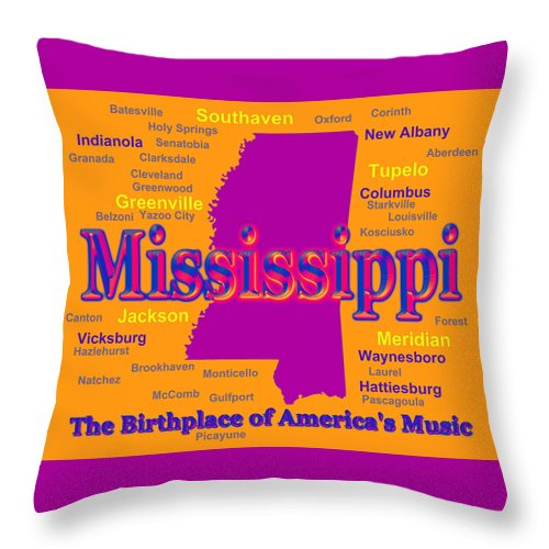 Mississippi Throw Pillow featuring the photograph Colorful Mississippi State Pride Map Silhouette by Keith Webber Jr
