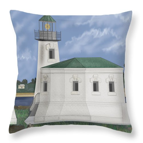 Lighthouse Throw Pillow featuring the painting Coquille River Lighthouse At Bandon Oregon by Anne Norskog