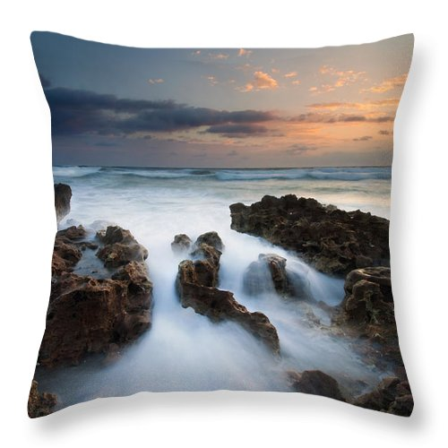 Coral Cove Throw Pillow featuring the photograph Coral Cove Dawn by Mike Dawson