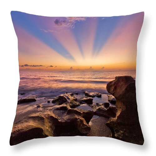 Blowing Rocks Throw Pillow featuring the photograph Coral Cove by Debra and Dave Vanderlaan