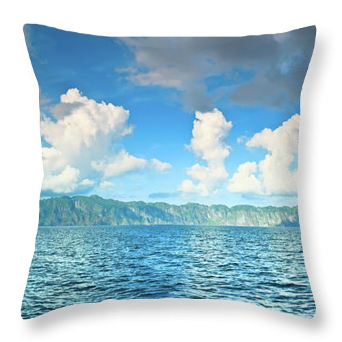 Mountains Throw Pillow featuring the photograph Coron Panorama by MotHaiBaPhoto Prints