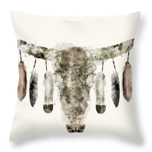 Cow Skull Throw Pillow featuring the painting Cow Skull by Bri Buckley