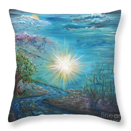 Creation Throw Pillow featuring the painting Creation by Nadine Rippelmeyer