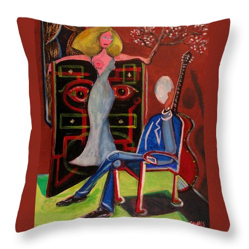 Starlet Throw Pillow featuring the painting Crucified Starlet And Her Serenading Egg by Dennis Tawes