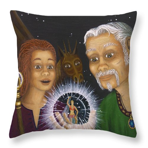 Fantasy Throw Pillow featuring the painting Crystal Ball by Roz Eve