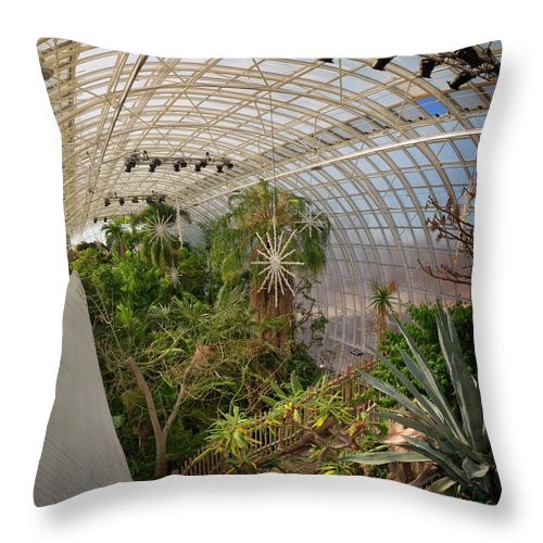 Architecture Throw Pillow featuring the photograph Crystal Bridge by Ricky Barnard
