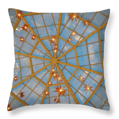 Glass Throw Pillow featuring the photograph Crystal Web by Maria Bonnier-Perez