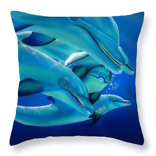 Blue Throw Pillow featuring the painting Curiosity by Angie Hamlin