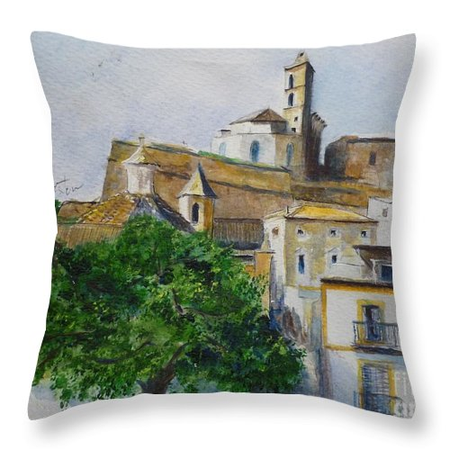 Buildings Throw Pillow featuring the painting D Alt Vila Ibiza Old Town by Lizzy Forrester