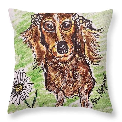 Dachshund Throw Pillow featuring the drawing Dachshund by Geraldine Myszenski