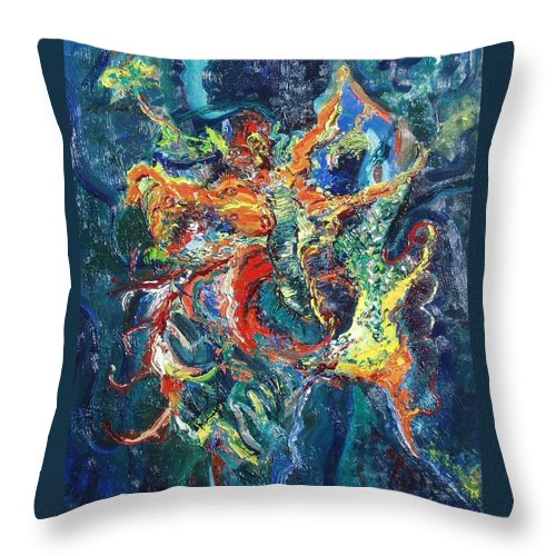 Butterfly Paintings Throw Pillow featuring the painting Dancing Butterflies by Seon-Jeong Kim