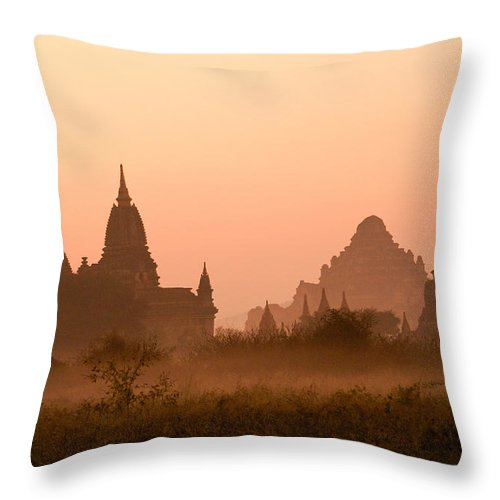 Sunrise Throw Pillow featuring the photograph Dawn In Burma by Michele Burgess