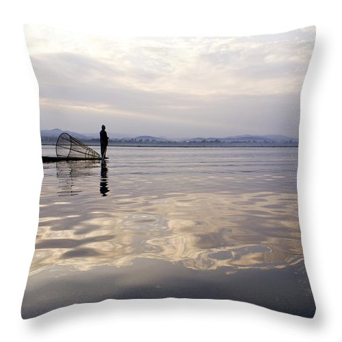 Sunrise Throw Pillow featuring the photograph Dawn On Inle Lake by Michele Burgess