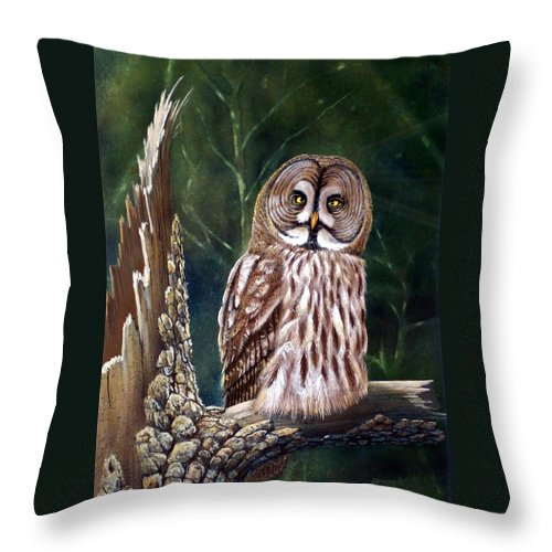 Wildlife Throw Pillow featuring the painting Deep In The Woods by Frank Wilson