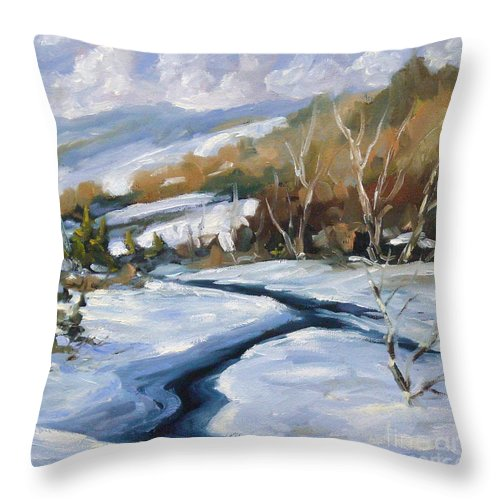 Country Lane Throw Pillow featuring the painting Deep Snow by Richard T Pranke