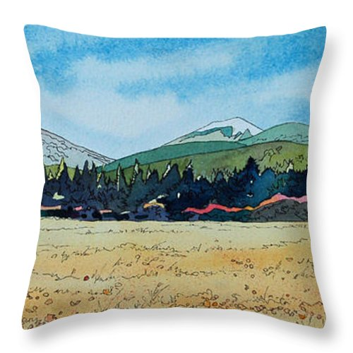 Landscape Throw Pillow featuring the painting Deschutes River View by Terry Holliday