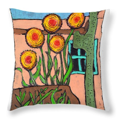Desert Throw Pillow featuring the painting Desert Fantasy by Wayne Potrafka