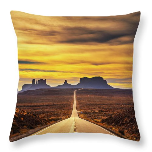 Desert Road Leading To Monument Valley At Sunset Throw Pillow For Sale By Miroslav Liska