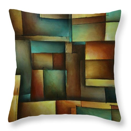 Abstract Throw Pillow featuring the painting Design 3 by Michael Lang