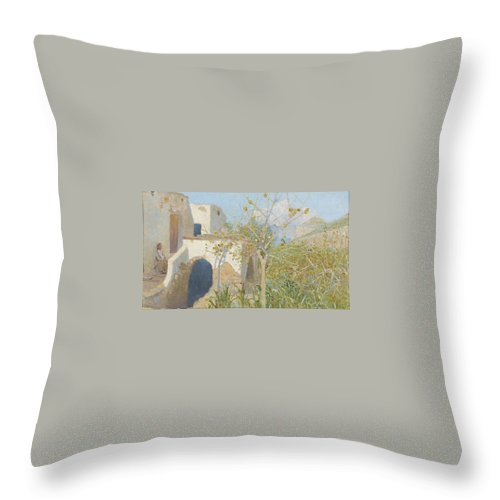 Lotten RÖnquist 1864-1912 Designs By Capri 2 Throw Pillow featuring the painting Designs By Capri by MotionAge Designs