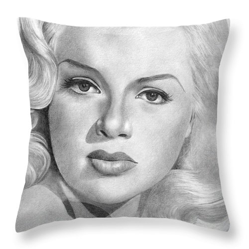Diana Dors Throw Pillow featuring the drawing Diana Dors by Karen Townsend