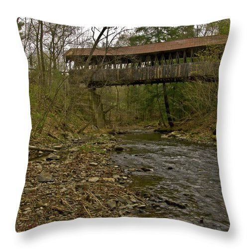new England Covered Bridges Throw Pillow featuring the photograph Dingleton Hill Bridge by Paul Mangold