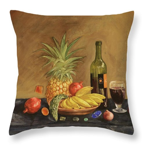 Still Life Throw Pillow featuring the painting Dinner by Eva Santi