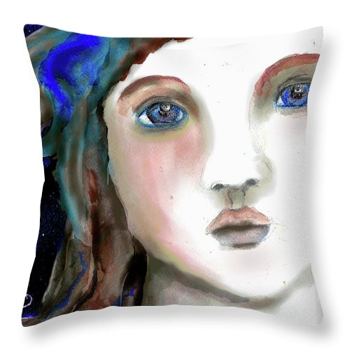 Girl Throw Pillow featuring the painting Disbelief by Cynthia Richards