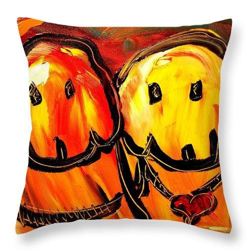 Red Poppies Throw Pillow featuring the painting Dogs by Mark Kazav