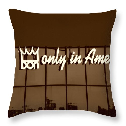 Sepia Throw Pillow featuring the photograph Don King Only In America by Rob Hans