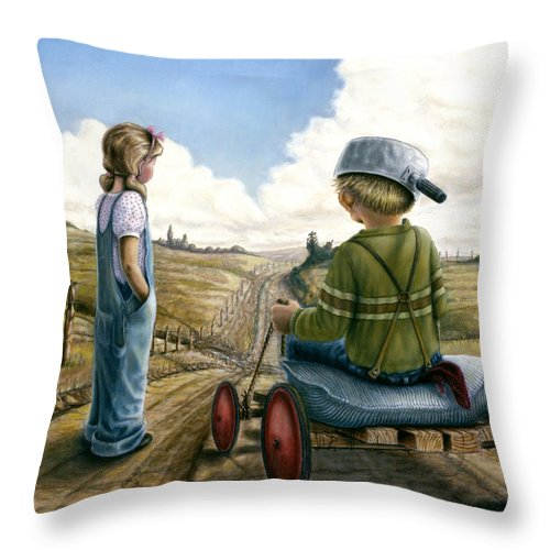 Children Playing Throw Pillow featuring the painting Down Hill Racer by Lance Anderson