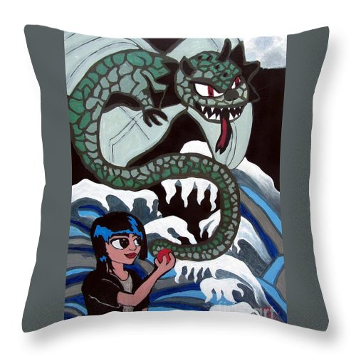 Dragon Throw Pillow featuring the painting Dragon Fruit by Andres Pola