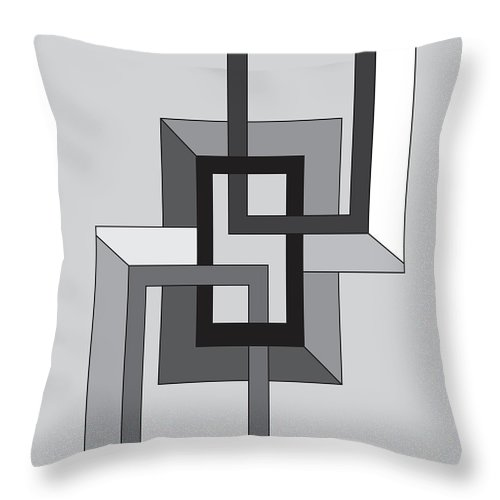 Illustration Throw Pillow featuring the drawing Drawn2shapes2bnw by Maggie Mijares