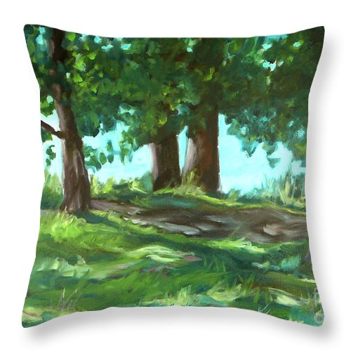 Expressionist Landscape Throw Pillow featuring the painting Dreaming On Fellows Lake by Jan Bennicoff