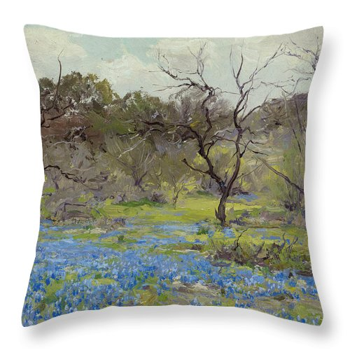 19th Century Art Throw Pillow featuring the painting Early Spring - Bluebonnets And Mesquite by Julian Onderdonk