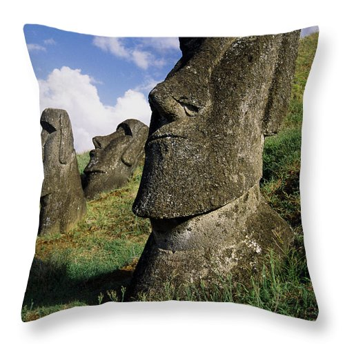 Easter Island Throw Pillow featuring the photograph Easter Island Moai by Michele Burgess
