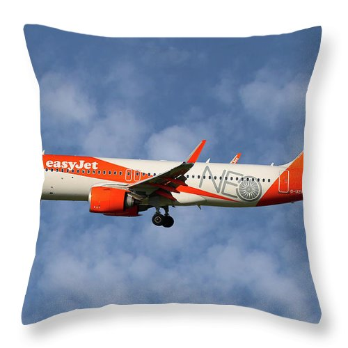 Easyjet Throw Pillow featuring the photograph Easyjet Airbus A320-251n 1 by Smart Aviation