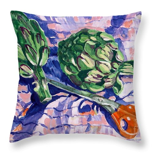 Greens Throw Pillow featuring the painting Edible Flowers by Jan Bennicoff
