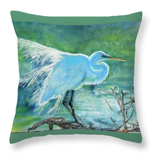 Egret Throw Pillow featuring the painting Egret In The Summer Breeze by Dawn Johansen