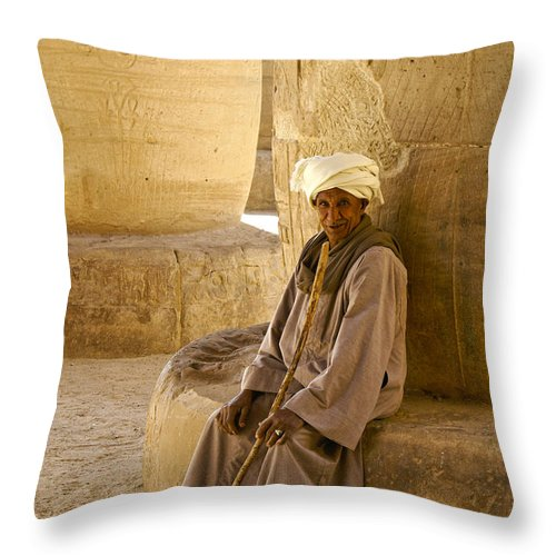 Egypt Throw Pillow featuring the photograph Egyptian Caretaker by Michele Burgess