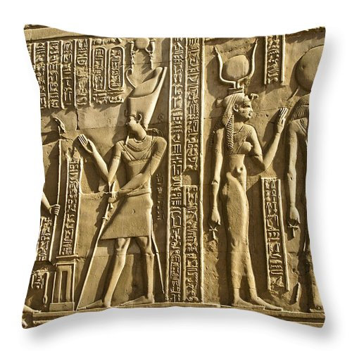 Egypt Throw Pillow featuring the photograph Egyptian Temple Art by Michele Burgess